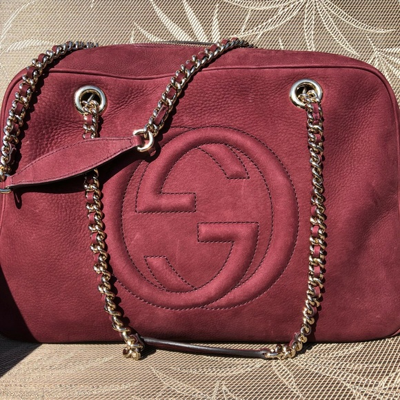 957fc9b184bf4 Like New Gucci Burgundy Suede Bag Limited Edition